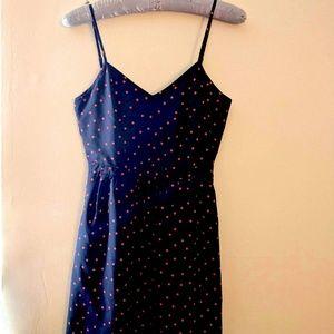 J. Crew navy cami dress, coral polka dots